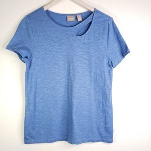 Chico's Cutout Scoop Neck Shimmer Blue Tee Top